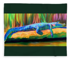 Blue Alligator Fleece Blanket