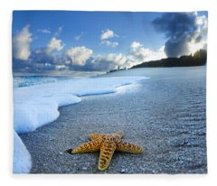 Blue Foam Starfish Fleece Blanket