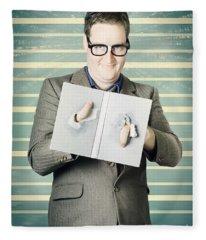 Bookworm Poking Through Plot Hole Twist In Book Fleece Blanket