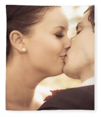 Bride And Groom Kissing Fleece Blanket