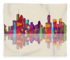 Brisbane Australia Skyline Fleece Blanket