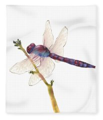 Burgundy Dragonfly  Fleece Blanket