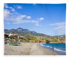 Burriana Beach In Nerja Fleece Blanket
