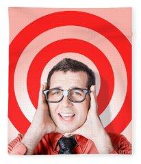 Business Man In Fear On Target Background Fleece Blanket