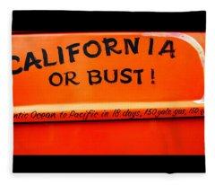 California Or Bust Fleece Blanket