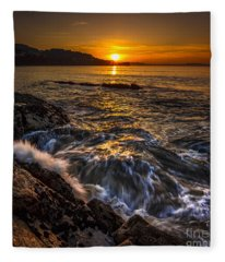 Chamoso Point In Ares Estuary Galicia Spain Fleece Blanket