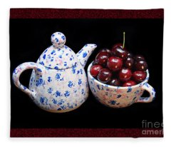 Cherries Invited To Tea 2 Fleece Blanket