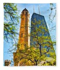 Chicago Water And Hancock Towers Fleece Blanket