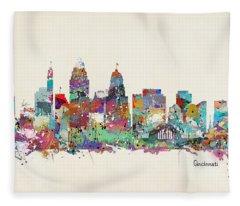 Cincinnati Ohio Skyline Fleece Blanket