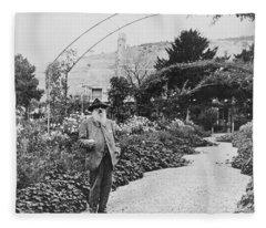 Claude Monet In His Garden At Giverny Fleece Blanket