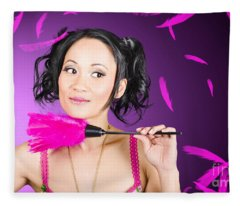 Cleaning Lady Maid Dusting With Feather Duster Fleece Blanket