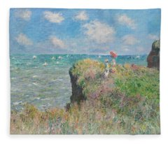 Cliff Walk At Pourville Fleece Blanket