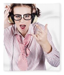 Cool Music Nerd Rocking Out To Metal On Headphones Fleece Blanket