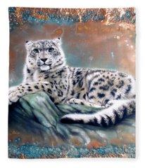 Copper Snow Leopard Fleece Blanket
