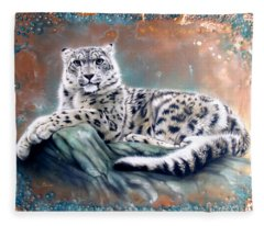 Copper Snow Leopard Fleece Blanket