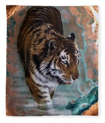 Copper Tiger I  Fleece Blanket