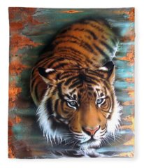 Copper Tiger II Fleece Blanket