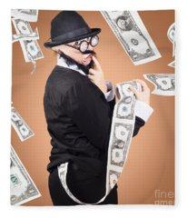 Corrupt Business Man Money Laundering Us Dollars Fleece Blanket