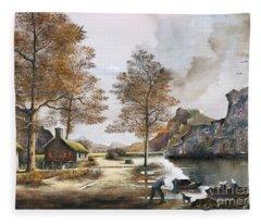 Crofters Cottages Fleece Blanket