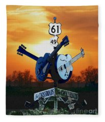 Crossroads Sunset  Blues Highway 61 Fleece Blanket