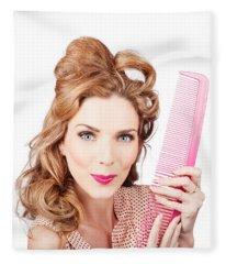 Cute Retro Female Hairdresser With Big Hair Comb Fleece Blanket