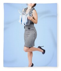 Cute Young Pinup Housewife Cleaning On Blue Fleece Blanket