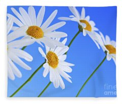 Daisy Flowers On Blue Background Fleece Blanket