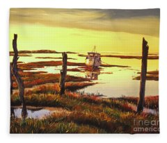 Dawn At Saltmarsh Fleece Blanket
