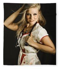Dead Sexy Nurse Fleece Blanket