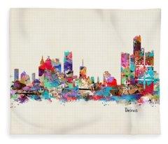 Detroit Michigan Fleece Blanket