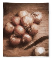 Digital Painting Of Brown Onions On Kitchen Table Fleece Blanket