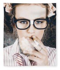 Edgy Grunge Portrait Of A Smoking Hipster Nerd Fleece Blanket