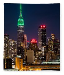 Empire State Building On Saint Patrick's Day Fleece Blanket