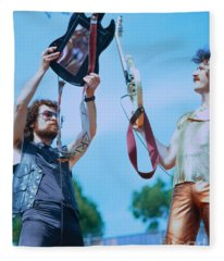 Eric Bloom And Buck Dharma Of Blue Oyster Cult At Day On The Green In Oakland Fleece Blanket