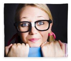 Face Of Smart Schoolgirl Holding Textbook On Black Fleece Blanket