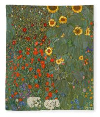 Farm Garden With Sunflowers Fleece Blanket