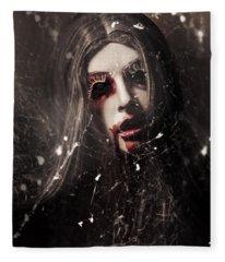 Female Face Of Dark Horror. Eye Of The Black Widow Fleece Blanket