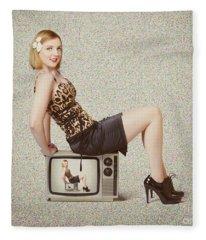 Female Television Show Actress On Old Tv Set Fleece Blanket