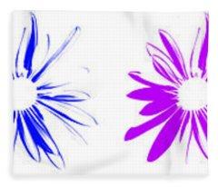 Flowers On White Fleece Blanket