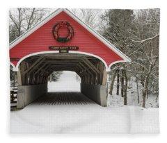Flume Covered Bridge - White Mountains New Hampshire Usa Fleece Blanket