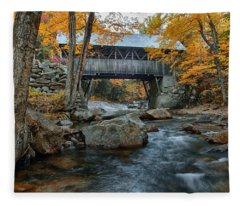 Flume Gorge Covered Bridge Fleece Blanket