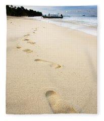 Footprints On Tropical Beach Fleece Blanket