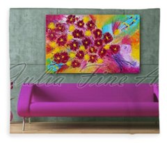 Floral Abstract Painting  Fleece Blanket