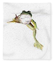 Frog On Waterline Fleece Blanket