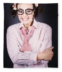Funny Female Business Nerd With Big Geeky Smile Fleece Blanket