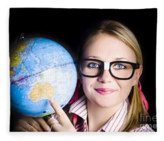 Geography School Student Learning About World Fleece Blanket