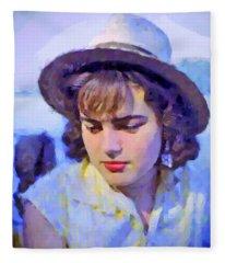 German Girl On The Rhine Fleece Blanket
