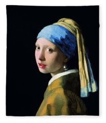 Girl With A Pearl Earring Fleece Blanket