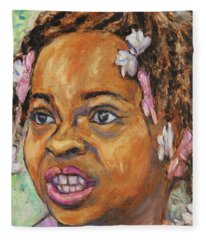 Girl With Dread Locks Fleece Blanket