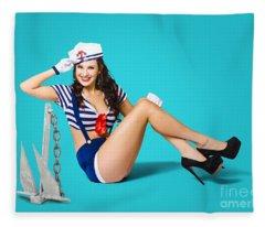 Gorgeous Pin Up Sailor Girl Wearing Hat Fleece Blanket